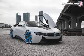 Bmw I8 Tuning - white bmw i8 lowered on blue hre wheels gtspirit