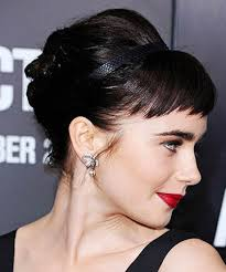 spiky peicy hair cuts lily collins retro spiky short bangs long hair with bangs is