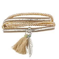 magnetic wrap bracelet images Boho tan beaded stone tassel feather magnetic wrap bracelet jpg