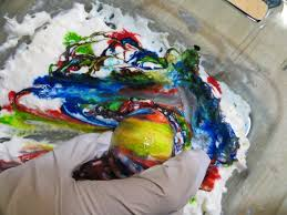 edible egg marbling with food coloring and whipped cream the