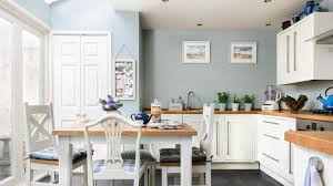 floor x room white cabinet kitchen blue walls light and honey wood