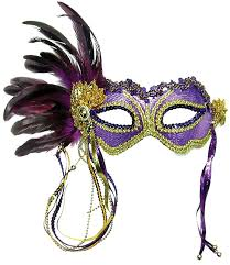 feather mask purple gold burlesque style feather mask