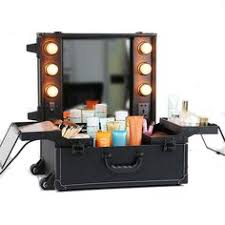 rolling makeup case with lighted mirror aw rolling studio makeup cosmetic case w led light bulbs