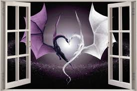 huge 3d window view fantasy dragon heart wall sticker decal shop categories