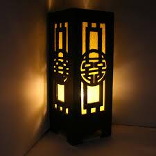gaiashine carved wood desk table lamp home decor lighting japanese