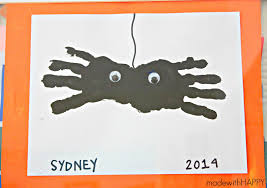 handprint spiders halloween kids craft made with happy