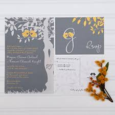 custom invites yellow and gray wedding invitations birds in a tree custom