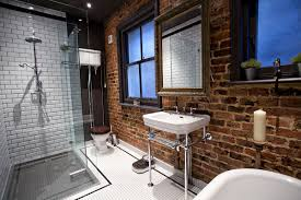 splendid industrial attic bathroom design scheme offering wall