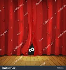 Curtain Cartoon by Eyes Behind Red Curtains On Wood Stock Vector 165467681 Shutterstock