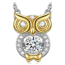 gold owl pendant necklace images Owl necklace for women 925 sterling silver necklaces jpg
