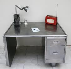 Metal Desk Vintage Industrial Stripped And Polished Steel Metal Desk