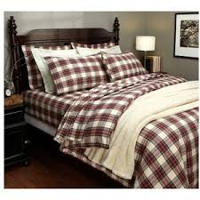 pinzon 160 gm yarn dyed flannel duvet cover cream red plaid