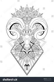 aries mandala tattoo designhorn sheep line stock vector 411401935