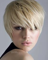 short hairstyle with a lash length fringe hair shaped to hug the
