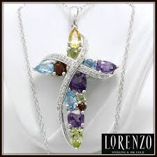 colored cross necklace images Solid 925 sterling silver genuine multi color stones designer jpg