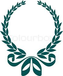 leaf ribbon blue silhouette of a circular foliate laurel wreath with a
