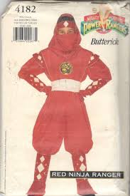 butterick halloween costumes butterick 4182 boys girls teen red ninja power ranger costume