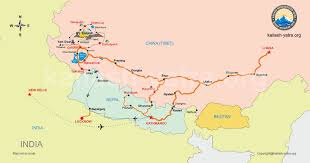 Map Nepal India by Kailash Manasarovar Yatra Route Map