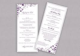 purple wedding programs diy wedding program instantly editable text chic