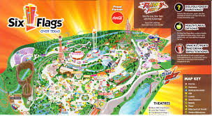 Dallas Texas Six Flags Six Flags Over Texas 2013 Park Map