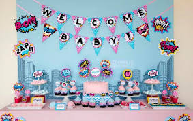 baby shower centerpieces for girl ideas kara s party ideas superboy supergirl baby shower party