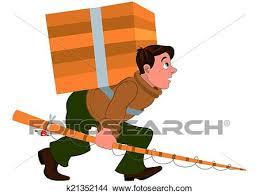 clipart uomo clipart cartone animato uomo con canna da pesca e portante