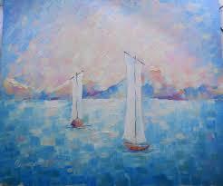 Painting Boat Interior Calm Sea Regatta Seascape Boats Large Oil Painting Fishing