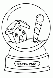 winter scenes coloring pages printable throughout snow globe page