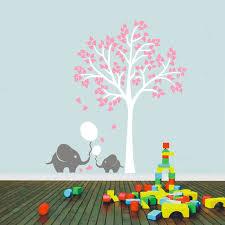 stickers arbre chambre enfant mignon éléphant tiré ballon mur décor de nurserie stickers arbre