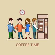 image pause café bureau machine plate d de café de concept de pause café de lineart