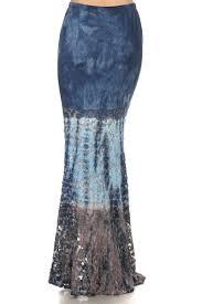denim maxi skirt denim blue lace mermaid style maxi skirt