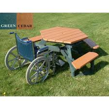 round plastic picnic table ada wheelchair accessible round recycled plastic picnic table 170