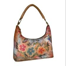 anuschka premium antique anuschka handpainted leather medium top zip hobo premium hibiscus