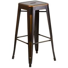 Furniture Bar Stool Chairs Backless by Flash Furniture 30 In Distressed Copper Bar Stool Etbt350330cop