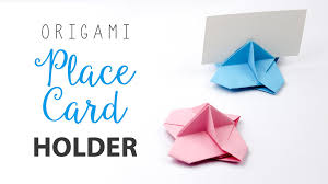origami place card holder tutorial card stand diy paper