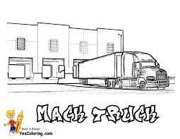 realistic semi truck coloring page for kids transportation with