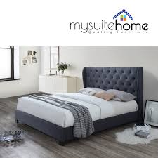 Modern Bed Frame Rhea Contemporary Fabric Size Bed Frame With Large