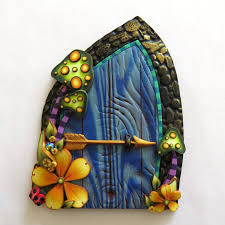 blue fairy door toadstool pixie portal home decor fairy garden