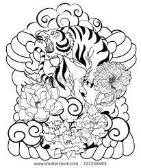 tiger cherry blossom peony flower stock vector 721338463