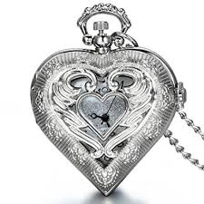 ladies pocket watch necklace images Jewelrywe mother 39 s day gift vintage silver tone heart locket style jpg