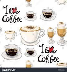 espresso macchiato beautiful seamless pattern love coffee lettering stock vector