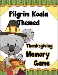 pilgrim koala themed thanksgiving memory concentration tpt
