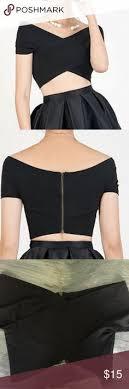 the shoulder black blouse shoulder crop top nwt top wines wine and shoulder