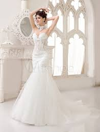 milanoo robe de mari e robes de mariée sans bretelles sirène robe de mariée ras de cou