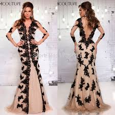 champagne and black lace prom dress best dressed