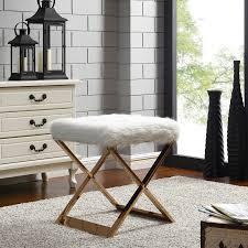 White Fur Ottoman by 6000021 Npd Furniture Stylish U0026 Affordable Lifestyle Furniture