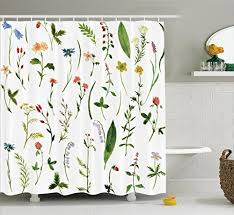 Bathroom Flowers And Plants Watercolor Floral Curtains Amazon Com