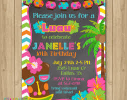 luau birthday invitation hawaiian birthday luau by claceydesign