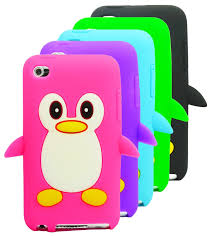cartoon penguin silicone case skin cover for apple ipod touch 4
