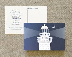 Post Card Invites Modern Lighthouse Postcard Save The Date White Ink